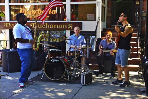 Carl Catron and his group playing outside of Daisy Buchanan's on Newbury Street in Boston Massachusetts