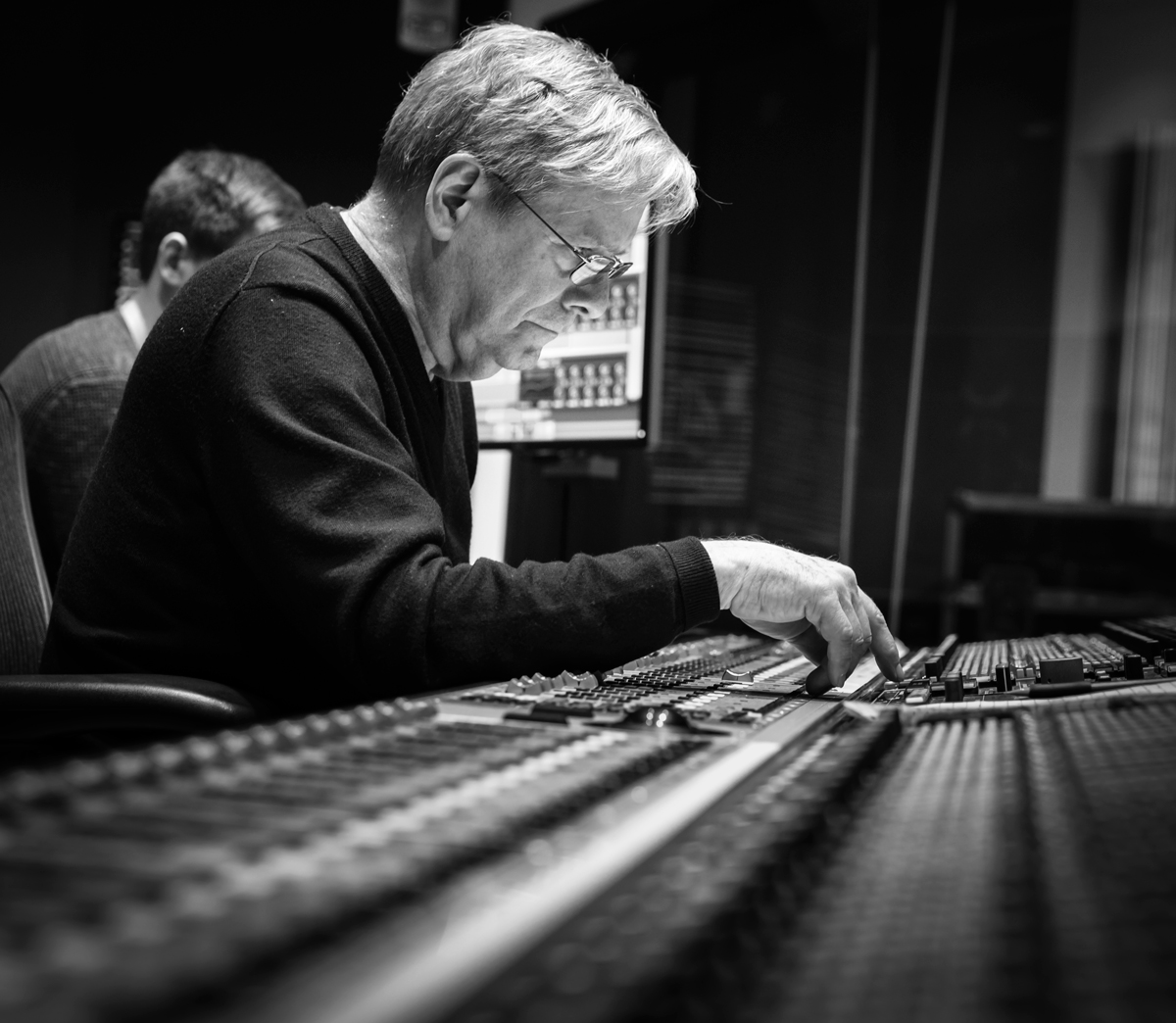 George Massenburg Music Production and Engineering masterclass 2017 World renown engineer and producer George Massenburg at the console during a recording session of a Berklee student ensemble.