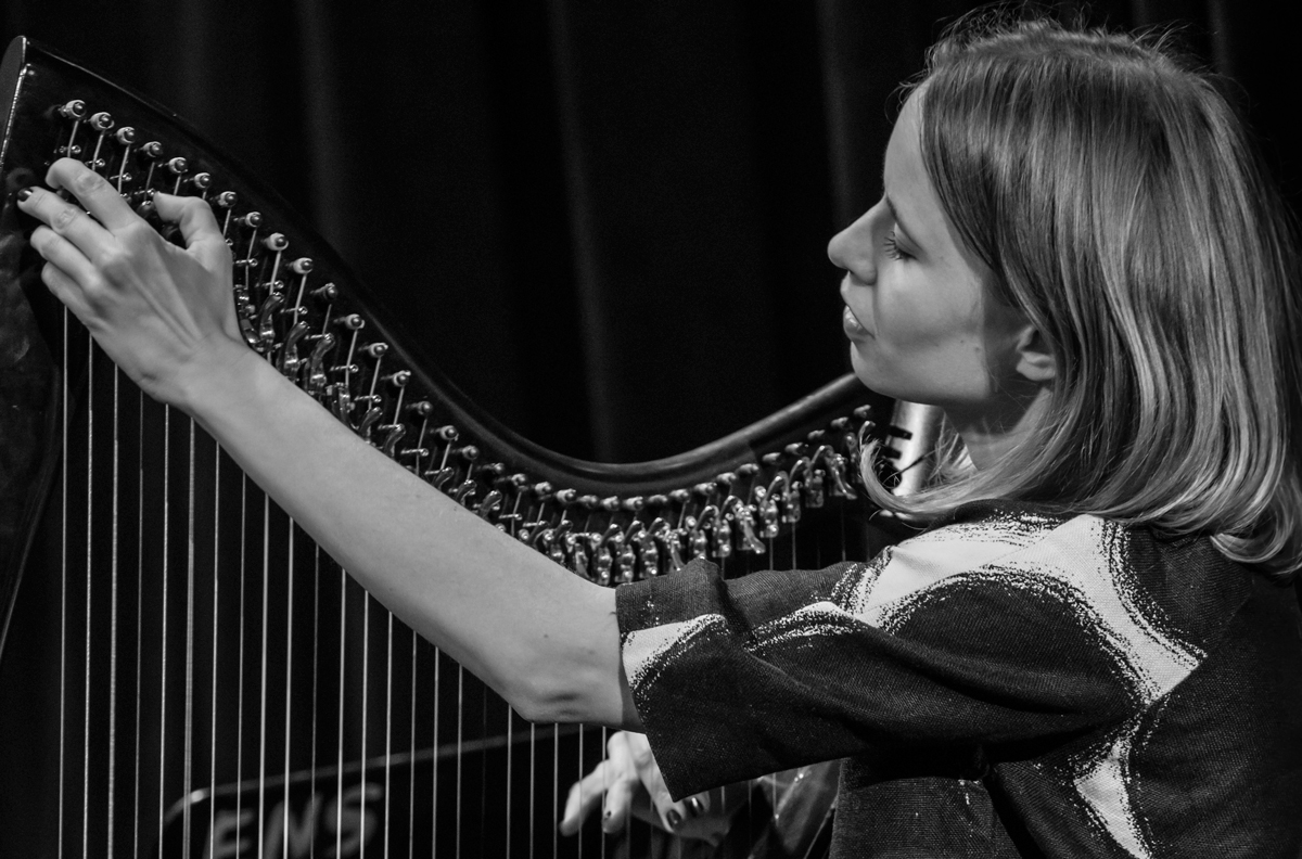 Maeve Gilchrest 2017 Maeve was a Berklee student and later the first lever harpist to teach in the String Department. Lately she's returned as a visiting artist. I like how the graceful curve of the frame of Maeve's harp follows the curve of her arm.